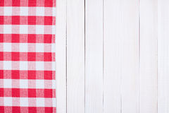 Red checkerboard plaid white fence Stock Photography