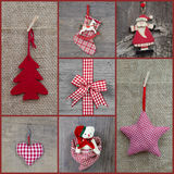 Red checkered christmas decoration in country style with wood Royalty Free Stock Photos
