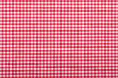 Red checkered fabric. Closeup , tablecloth texture Royalty Free Stock Photo