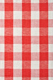 Red checkered fabric. Closeup , tablecloth texture Royalty Free Stock Photography