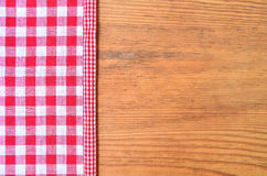Red checkered fabric Rustic wooden Royalty Free Stock Photo