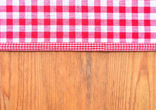 Red checkered fabric Rustic wooden Stock Photo
