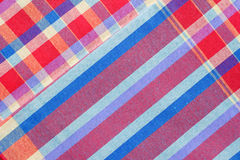 Red checkered fabric tablecloth, Texture Background.  Stock Photos