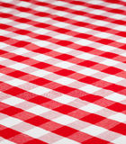 Red checkered gingham fabric tablecloth. Red checkered fabric table cloth Stock Photos