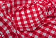 Red checkered napkin. Red checkered kitchen napkin. Well seen pattern Royalty Free Stock Photography