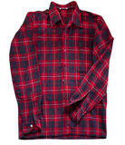 Red checkered long sleeve shirt. Red winter shirt with tartan pattern, isolated on white stock photo