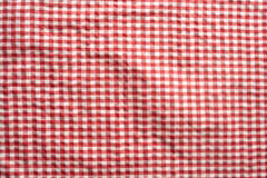 Red checkered patterned tablecloth. Background red checkered patterned tablecloth for a oktoberfest concept Stock Photography