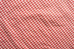 Red checkered patterned tablecloth. For a picnic or a oktoberfest decoration Stock Photo
