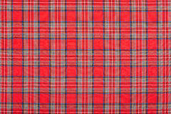 Red checkered scottish fabric texture background. High detailed Royalty Free Stock Photography
