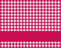 Red tablecloth pattern. Red checkered tablecloth background with stripe for text Royalty Free Stock Photography