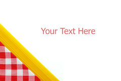 Red checkered tablecloth and noodle isolated on Royalty Free Stock Image