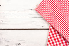 Red checkered tablecloth on a white wooden board Royalty Free Stock Photography