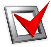 Red checkmark. Checkbox with red checkmark isolated on white background, illustration stock illustration