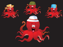 Redcheerful cartoon octopus, with various accessories ( hat). Stock Images