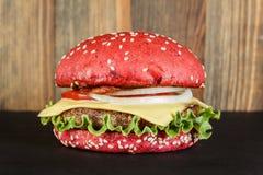 Red cheeseburger close-up Royalty Free Stock Image