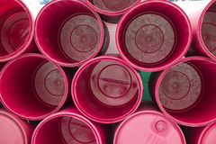 Red chemical drums Texture background Stock Photos
