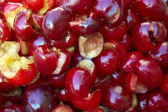 Red cherries. Pile of ripe red cherries Stock Images