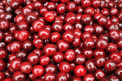 Red cherries background. Sweet red cherries background image Stock Photos