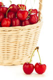 Red cherries in a basket Royalty Free Stock Photography