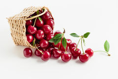 Red Cherries in a Basket Royalty Free Stock Images