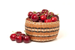Red Cherries in a basket on white background Stock Photos