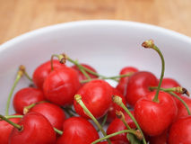 Red cherries in bowl Royalty Free Stock Photography
