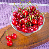 Red cherries in the bowl Royalty Free Stock Photos