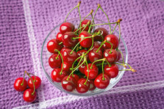 Red cherries in the bowl Royalty Free Stock Images