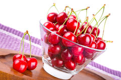 Red cherries in the bowl Stock Images
