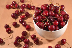 Red cherries in a bowl Stock Image