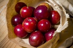 Red cherries and cherry plums Royalty Free Stock Images