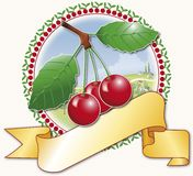 Red cherries and circular frame Royalty Free Stock Photo
