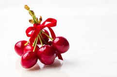 Red cherries fruit bouquet isolated Stock Photo