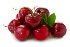 Red Cherries isolated on white. Royalty Free Stock Images