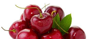 Red Cherries isolated on white. Stock Images