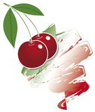Red cherries on italian flag. Bunch of cherries on brushstroke tricolor Royalty Free Stock Images