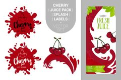 Red cherries on juice splash. Fresh cherry juice pack with Organic labels tags and green leaves. Colorful berry stickers stock illustration