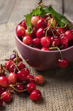 Red cherries in pink bowl on wooden background Stock Photography