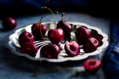 Red Cherries on Silver Platter Royalty Free Stock Images