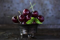 Red Cherries on Stainless Steel Bowl Stock Photography