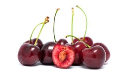 Red cherries with stems Stock Photo