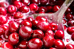 Red cherries in sugar syrup. Stock Image