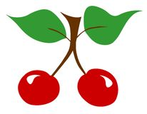 Red cherries twig leaf leaves illustration fresh Royalty Free Stock Photos