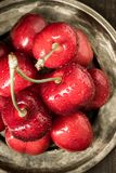 Red Cherries with Water Drops Royalty Free Stock Photography