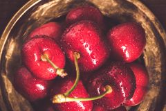 Red Cherries with Water Drops Stock Photo