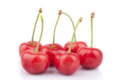 Red cherries. On a white background Royalty Free Stock Photo
