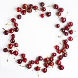 Red cherries on a white background Stock Image