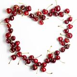 Red cherries on a white background Royalty Free Stock Images