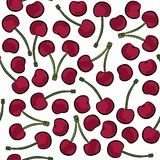 Red cherries on white fruit seamless pattern. Delicious ripe red cherries isolated on white background colorful fruit seamless pattern Stock Photography