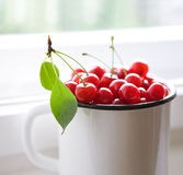 Red cherries in white mug Stock Photo